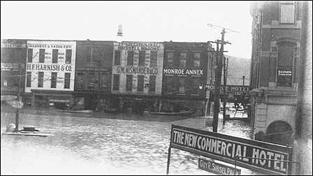 Looking South Toward Court Square From The New Commercial Hotel During 1913 Flood Monroe Is On Right Large Building Left Of Williams
